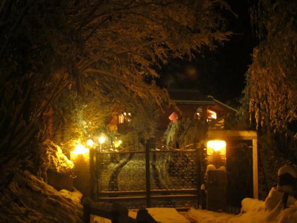 Chalet éclairé en hiver (3)